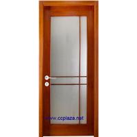 Fiberglass Solid Wooden Doors of Oak Or Rosewood with Glass, Model Smm004, Internal Door Entry Doors with Wax Finish