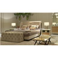 Bentely Same Item Double Bedroom Beds Velvet Double Bed Solid Ash Wood Beds OEM Factory