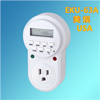 15A 125V~, Programmable Weekly Digital Timer Energy Saving USA -Grounded Plug-In Timer Socket