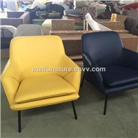 Modren Living Room Easy Chair Full Real Leather Easy Chair Solid Ash Wood Leg Leisure Chair OEM Factory