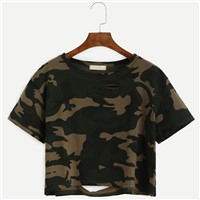 100% Cotton Fabric Short Sleeve Hole Camoflage Digital Printing Distressed Crop Slim Fit T Shirt Women