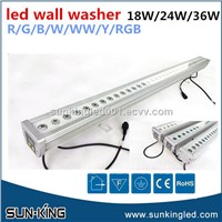 SUN-KING 1200MM Linear Landscape Outdoor Ip65 36*1W 36W RGB LED Wall Washer with DMX512 Address Display
