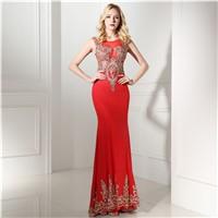 Elegant Long Red Custom Made Evening Dresses 0641
