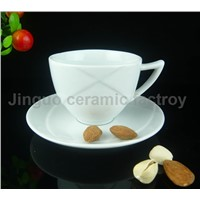 Porcelain Ceramic White Coffee Cup with Saucer