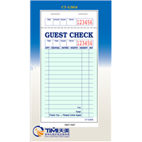 CT-G3616 1 Part Green & White Guest Check with Top Guest Receipt - 50/Case