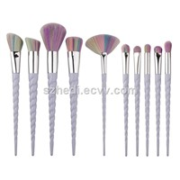 Best Selling Products Colorful Makeup Brushes 10pcs Unicorn Spiral Makeup Brushes Set