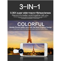 0.36X Super Wide Angle Mobile Phone Camera Lens 3 in 1