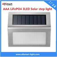 AAA LiFePO4 3LED Solar Step Light Solar Powered White LED Staircase Step Lights Stairways Landscape Garden Path Lamp