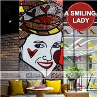 Smiling Lady Women Picture Handmade Decorative Glass Mosaic Wall Art Murals