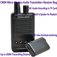 CW04 Micro Wireless Audio Transmitter Receiver TF Voice Recorder Long Range 1500M Remote Audio Spy Listening Bug