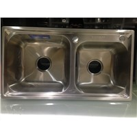 Greater Durabiltiy SUS 304 Material Stainless Steel Double Bowl Kitchen Sink 7239