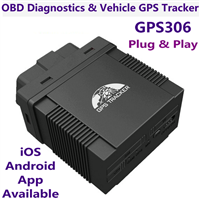 GPS306 OBD2 Real-Time Vehicle GPS Tracking Device Plug & Play Car on-Board Diagnostics Tool W/ IOS/Android App
