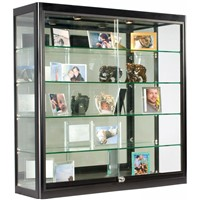 Glass Display Case that Is Wall Mounted, Illuminated, Has Locking Sliding Glass Doors, & Ships Fully Assembled