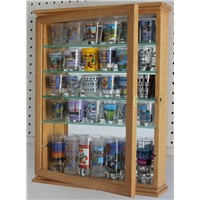 Small Wall Mounted Curio Cabinet Shadow Box, Glass Door, Mirror Background, Solid Wood - Oak Finish