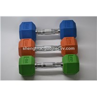 Colorful Fitness Equipment Rubber Coated Hex Dumbbell Sets