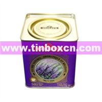Tea Tin with Airtight Lid & Metal Mechanism, Tea Box, Tin Tea Caddy