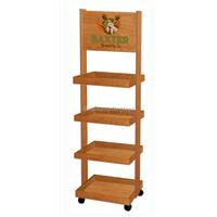 4-Tiers Drinks Visual Merchandising Wood Display Stand Veneer Finishing