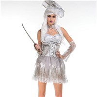 Grey Women Pirates Cosplay for Halloween Pirates Carnival Costumes for Adult Halloween Fancy Ball W5389107