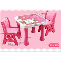 Popular Pink Design Children's Plastic Furniture Kids Adjustable Study/Writing/Playing Table/Desk & Chairs Set