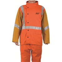 AP-2730 Flame Retardart Cotton with Leather Sleeves Design Reflective Safety Tape Jacket