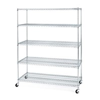 5 Tiers Heavy Duty Chrome Metal Wire Shelving with Wheels