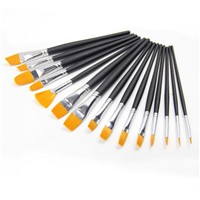 Black Wooden Handel Professional Artist Paint Brush Set