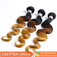 Cheap 100% Virgin Brazilian Wavy Hair Bundles Body Wave Two Tone Ombre Colored Blonde Human Hair Weave Extension