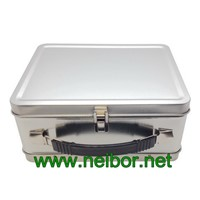 Blank Large Silver Tin Lunch Box with Custom Label