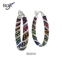 Multicolored 925 Silver Earrings Crystal Polymer Clay Hoop Earrings Jewelry