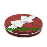 Round Shape Gift Card Tin Holder with Ribbon & Flocked Tray