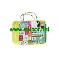 Mini Size Wedding Favor Suitcase Tin Box with Handle for Candy & Chocolate Packaigng