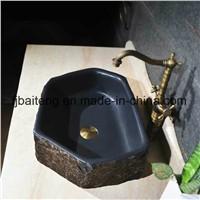 Hexagonal Natural Stone Pedestal Sink