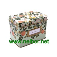 Rectangular Shape Metal Recipe Tin Container Spice Tin with Card Holder