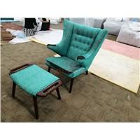 Hans J Wegner PP19 Papa Bear Arm Chair & Ottoman in Fabric