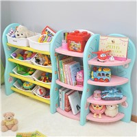 Latest Plastic Children's Furniture Bookshelf Kids Movable Toy Storage Rack