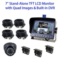 Car DVR 7 Inch TFT LCD Quad Monitor with DVR