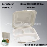 3 Compartments Biodegradable Cornstarch Disposable Fast Food Carry Out Container