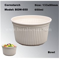 100% Biodegradation Disposable Compostable Cornstarch Tableware Big Bowl with Lid