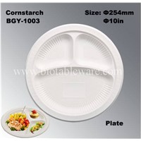 3 Compartments High Capacity Disposable Biodegradable Corn Starch Dishes Plate