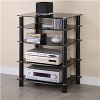 Black Glass Multilevel Component Stand