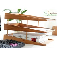 Stackable 3 Layer Bamboo Desktop File Organizer