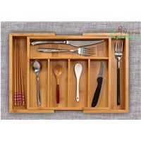 Bamboo Kitchen Expandable Cutlery Organizer Tray