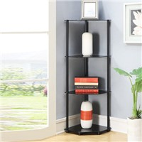 Corner Shelf Rack 4 Tier Black Glass Bath Living Dining Room Home Display Stand