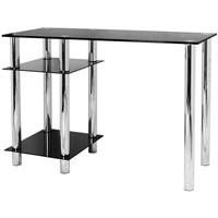 BLACK GLASS COMPUTER DESK & BASE UNIT SHELF OFFICE TABLE PC WORKSTATION