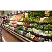 Supermarket Freezer Serpentine Retail Display Shelves