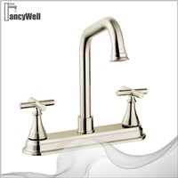 Lever-Handle Widespread Bathroom Faucet, Brass Finish