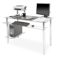 Computer Desk with Clear BLACK Glass & Aluminum