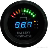 Round Battery Gauge Arc LED Line 10 Bar Digital Battery Discharge Indicator Hour Meter