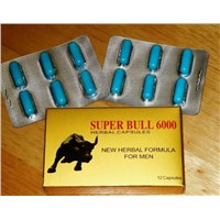 Super Bull 6000 Sex Capsules for Men Sex Enhancement Herbal Sex Pills 12 Tablets/Box Blue Capsules
