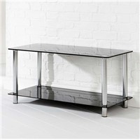 Two Tier Black Glass Coffee Table Rectangle Shape